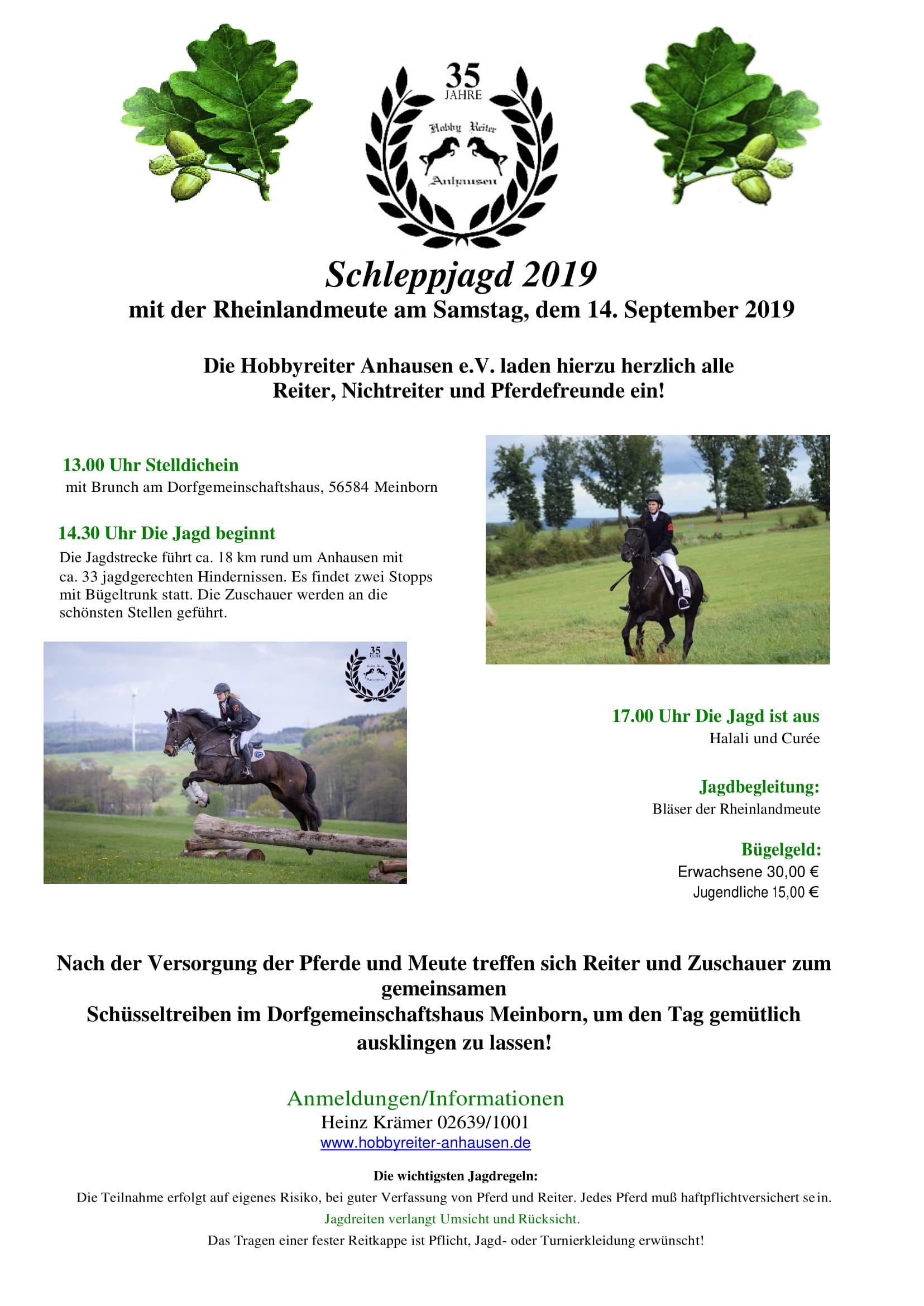 Einladung zur Jagd der Hobbyreiter Anhausen e.V. 14.09.2019